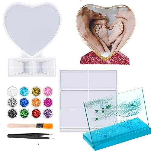 KKSJK 2 marcos de fotos de resina epoxi, set de fundición para manualidades, marco de fotos de silicona, molde de molde de fotos personalizado para decoración del hogar