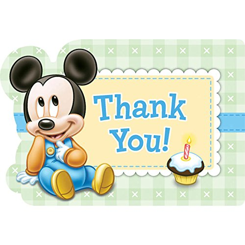 Mickeys First Birthday Thank You Notes