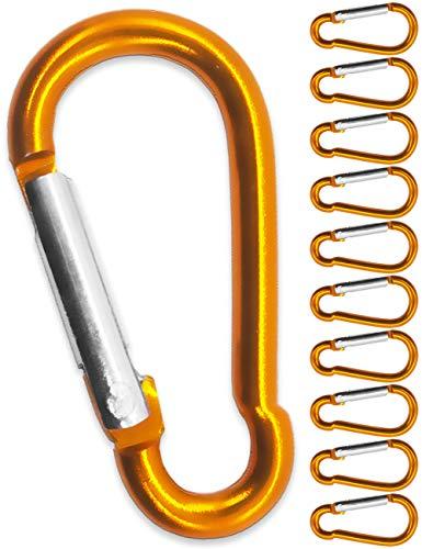 Saxx® Lot de 10 mousquetons en S en Aluminium Orange 4,0 cm | pour Fixer des équipements au Sac à Dos, Ceinture, Tente, canoë | Orange, Lot de 10