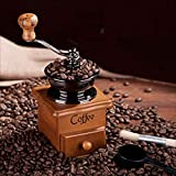 IIDEA Classical Wooden Mini Coffee Grinder,Manual Coffee Grinder,Portable Cone Grinder, Manual Spice Grinder, Coffee Grinder, Automatic Grinder - Conical Burr Mill & Brushed Stainless Steel Whole Bean