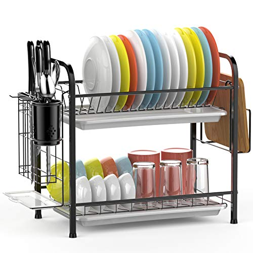 Dish Drying Rack GSlife 2 Tier 304 Stainless Steel Dish Rack with Utensil Holder Cutting Board Holder and Dish Drainer for Kitchen Counter Black A