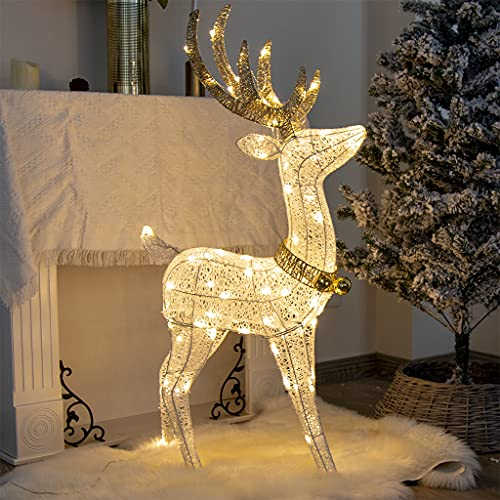 Vanthylit Christmas Decorations, 48'' White Standing Deer with 70 Warm White LED Lights for Christmas Lights Outdoor Decor