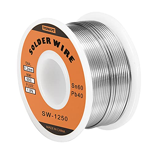 TOWOT Tin Lead Rosin Core Solder Wire for Electrical Soldering, Content 1.8% Solder flux Sn60-Pd40 (1.2mm, 50g)