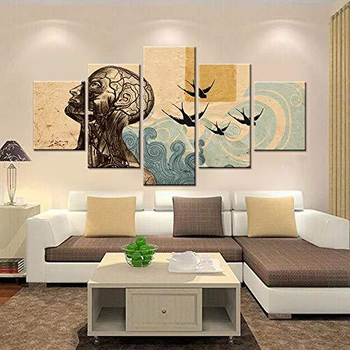 hllhpc (geen lijst) kunstdruk op canvas, HD, muurkunst, modulair, vintage-look, 5-delig, voor heren en gouden ringen, schilderijen in de woonkamer, decoratie voor thuis (30 x 40 x 30 x 6030 x 80)