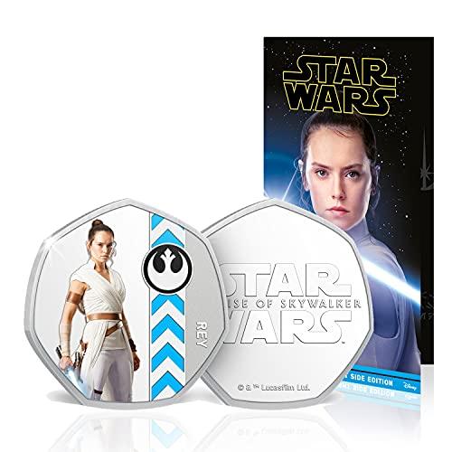 IMPACTO COLECCIONABLES Star Wars Rise of Skywalker Light Side Complete Collection - 50p Silber Gedenkmünze in Silberform / Offizielle Star Wars Geschenke Limitierte Auflage