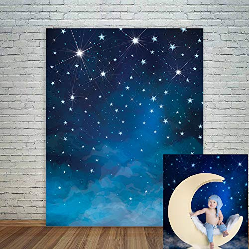 Mehofoto Starry Night Backdrops Blue Night Sky Photo Background Birthday Party Banner Supplies 5x7ft Vinyl Shining Star Newborn Baby Portrait Photo Booth Backdrop