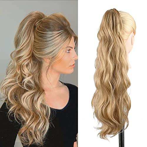 REECHO 포니테일 확장 머리카락 확장의 쉬운 클로 클립 16인치 천연 경량 포니 테일즈 여성용 헤어피스 - 하이라이트가 있는 골든 블론드