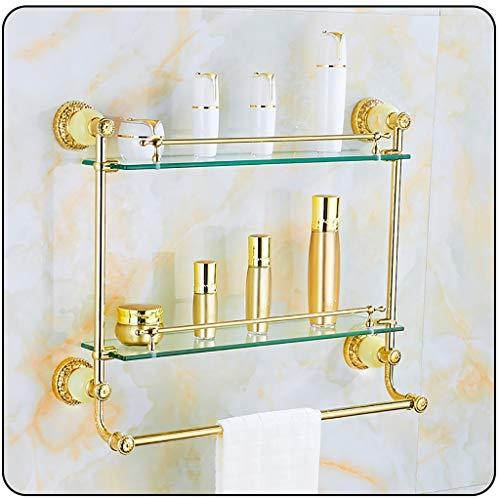 XPbja Europäischer Stil Gold Badezimmer Eckregal, Duschhandtuchhalter, Feines Schnitzen Mosaik-Jade 1 Schicht 2 Schicht Glas Regal Bohren (Color : 2 Layers)