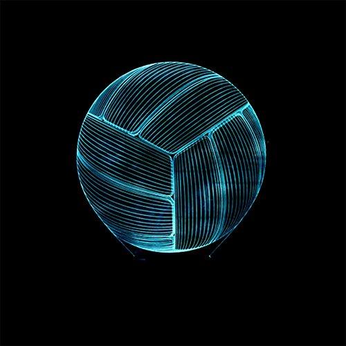 baby Q LED 3D Illusion Lampe, Lumières visuelles colorées de Contact de Volley-Ball, Lampe Acrylique de Tableau de Gradient, lumière d'alimentation d'USB