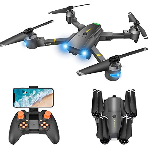 Drone with Camera for Adults - 120° Wide Angle RC Quadcopter for Beginner, WiFi FPV Live Video, Altitude Hold, Headless Mode, Stable Shot, Voice Control, Trajectory Flight, One Key Take Off, VR Game…