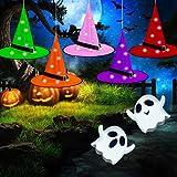 Lunriwis Sombrero de Bruja Brillante para Halloween,5 piezas Halloween Decoración Bruja Sombreros LED ,Puede colgar,Sombrero de Bruja Brillante para Decoración de Jardín Patio