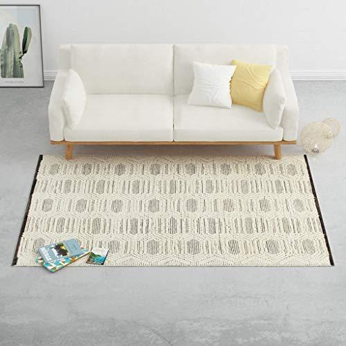 UnfadeMemory Teppich Wohnzimmerteppich Handgewebt Wolle und Baumwolle Wollteppich Schlafzimmer Wohnzimmer Dekoration Teppiche Handgewebteppich (Weiß/Schwarz, 160x230 cm)