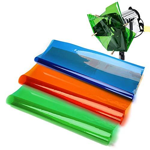 Selens 40x50cm Farbfolie Farbfilter Folie Professionel Transparente Farbkorrektur Beleuchtung Farbfolien für Foto Studio Strobe Blitz Flash 3 Stück