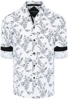Tarocash Men's Flinders Floral Print Shirt Regular Fit Long Sleeve Sizes XS-5XL for Going Out Smart Occasionwear