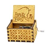 Beauty and the Beast Music Box, Wooden Hand Crank Beauty and the Beast Theme Music Box,18 Note Mechanism Antique Carved Wood Musical Box for Kids Friends