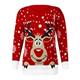 YEBIRAL Weatshirts de Noël, Femmes Manches Longues Sweat-Shirt Renne de noël Imprimé Sportswear Casual O-Cou Pull Chemisier T-Shirt(L,Rouge)