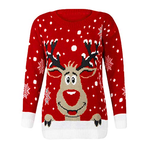 LODDD Women Christmas Shirt Fashion Reindeer Printed O-Neck Long Sleeve Sweatshirt Tops Blouse Red