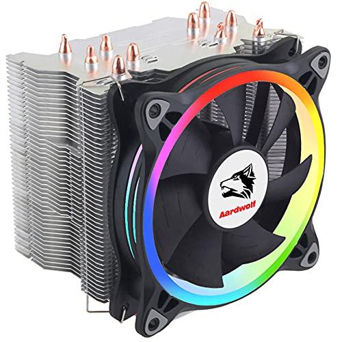 Aardwolf APF-10XPFM-120 Addressable RGB CPU Cooler, CPU Cooling Fan Intel i9 9900K, Intel CPU Cooler Lga 1151, Ryzen 5 3600 AM4 CPU Cooler, 5 Direct Contact Heatpipes