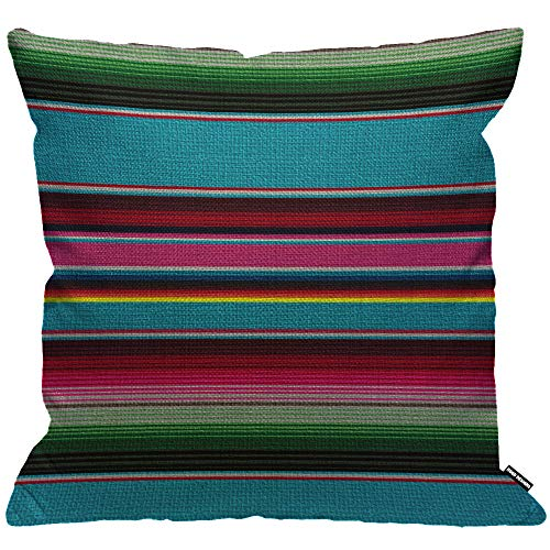 HGOD DESIGNS Mexikanische Decke Streifen Kissenbezug, ethnische Regenbogenfarbe gestreift Cinco de Mayo Wurfkissenbezug Heimdekoration für Wohnzimmer, Schlafzimmer, Sofa, Stuhl, 45 x 45 cm