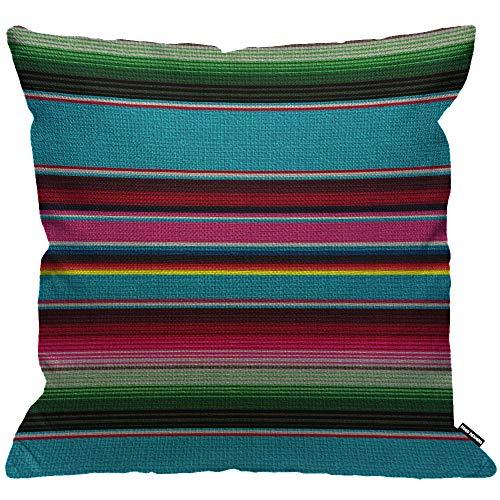 HGOD Designs - Federa per cuscino a righe messicane, stile cinco de Mayo, motivo a righe, per soggiorno, camera da letto, divano, sedia, 45 x 45 cm