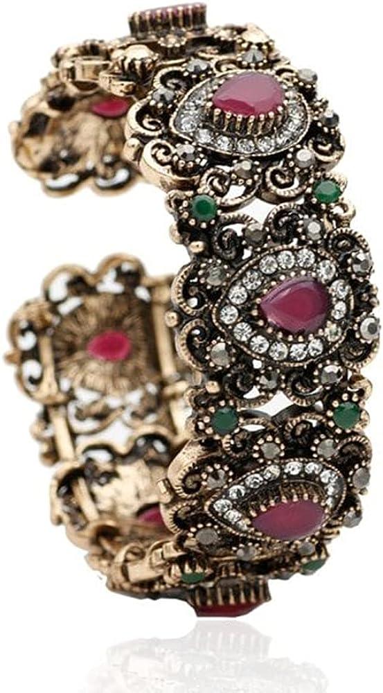 Flower Vintage Bangle Antique Bracelets, Gold Color Open Elastic Adjust Size Bracelets, Jewelry Come Gift Box, Women Girls Motivational Birthday