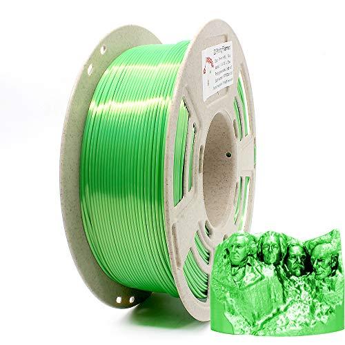 Reprapper Filamento Silk PLA 1.75 1kg para Impresión 3D, Seda PLA con Brillo Nacarado 1.75mm (± 0.03) para Impresora 3D, Verde