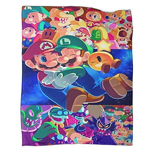 DRAGON VINES Super Mario Mario Luigi Bros Luigi Bowser Yoshi blanket large blanket 40x50inch(100x130cm) Polyester Suitable for all seasons Full Size pet