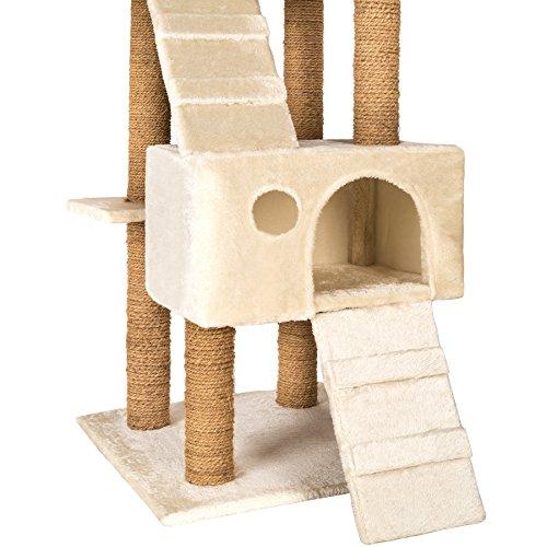 TecTake Katzen Kratzbaum Katzenbaum mittelhoch | Stämme komplett mit Kokosseil umwickelt | 2 Höhlen – diverse Farben – (Beige | Nr. 402190) - 4