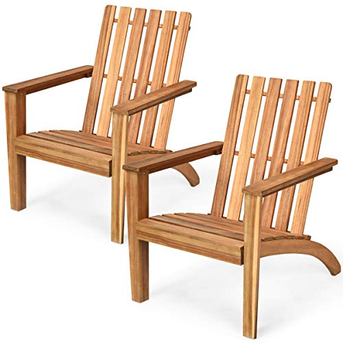 Giantex Wooden Adirondack Chair W/Ergonomic Design Outdoor Chair for Yard, Patio, Garden, Poolside, Balcony, Accent Furniture Armchair (2, Burlywood)