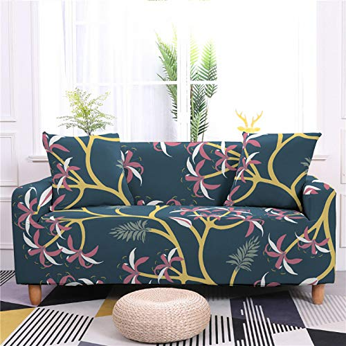 Stretch Sofa Couch Covers Elastic Fabric Line Floral Pattern All-Inclusive Loveseat Cover Anti-Slip Tight Wrap Settee Slipcover For Living Room Decor,3,seater 190,230cm