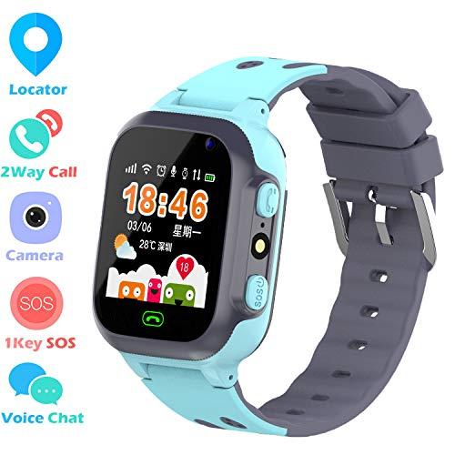 Zeerkeer Kids Smart Watch Phone, LBS Tracker Smartwatch voor kinderen Anti-verloren twee-weg bellen Touch Screen Smartwatch met Camera, SOS, zaklamp, Blauw