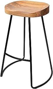 Taburete De Bar Silla De Comedor Retro Madera Patas De Metal Superiores Diseño Negro Cocina Restaurante Bar Taburete Alto (Altura Sentada: 45/65 / 75CM) (Tamaño : 65cm)
