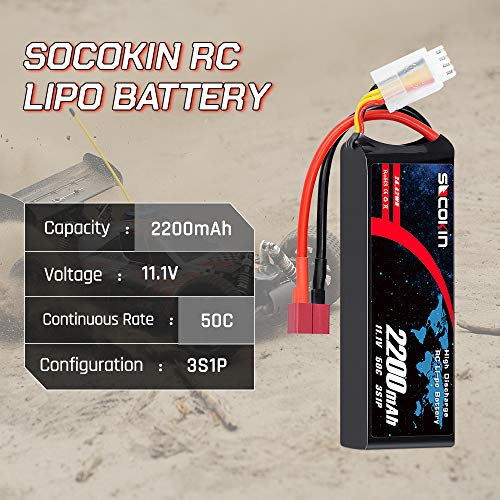 Socokin 3S 11.1V Lipo Battery 2200mAh 50C with Deans and XT60 Plug RC Batteries for E flite Valiant Parkzone E4F Wildcat Great Planes E-Cub RC Car Boat Truck Heli Airplane Quadcopter Helicopter 2Pack