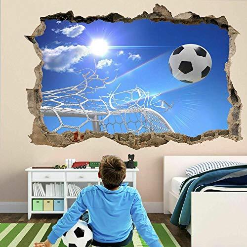 Wall Sticker Football Goal Nets 3D Wall Sticker Mural Decal Kids Room Decor Soccer Ball-90x130cm