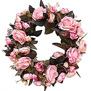 Artificial Rose Peony Flower Wreath – Newest Berry Flower Door Wreath with Green Leaves Spring Wreath for Front Door, Wedding, Wall, Home Decor, 13/16 Inch