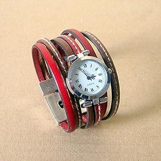 Montre Bracelet Manchette Rouge/Camel, Fermoir Plaqué Argent Aimanté 30MM. Cadeaux d'Anniversaire