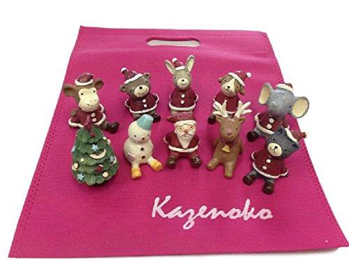 可愛い クリスマス 置物 オーナメント 人形 【 10種 + 収納袋 】 飾り サンタクロース トナカイ スノーマン 動物 アニマル オブジェ S36