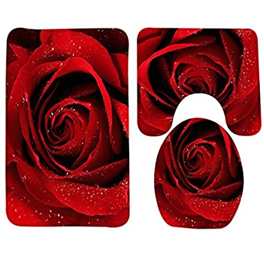 Wondertify Bath Mat,Rose,Red Rose With Water Droplets Bathroom Carpet Rug,Non-Slip 3 Piece Bathroom Mat Set