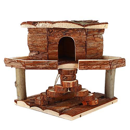 Tehaux - 1 nido di criceto in legno per animali domestici staccabile scala per animali domestici (colore casuale)