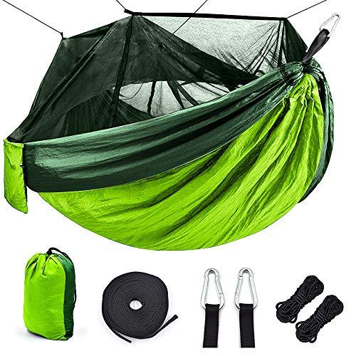 Ti-Fa Hamac avec moustiquaire, Double Filet de Camping imperméable et léger 300 kg Capacité de Charge,(260 x 140 cm) Nylon à Parachute pour Jardin d'interieur/extérieur,Vert