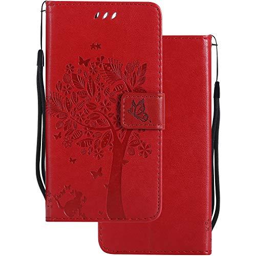 LEMORRY pour Huawei P8 Lite Etui Gaufré Cuir Portefeuille Pochette Protecteur Magnétique Fermeture Silicone TPU Housse Cover Coque pour Huawei P8 Lite ALE-L21, Chanceux Arbre Red
