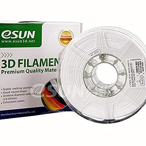 SUN-E eSun 3D Filament - PETG, 1Kg, 1.75/3.00mm zur Auswahl, Druck Tempe. 230-250℃, für 3D Drucker z.B. MakerBot RepRap MakerGear Ultimaker Mendel Huxlep UP Thing-o-matic, Universal (1.75mm, Weiß)