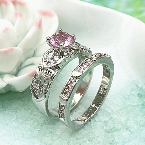 Diamonds Crystal Zircon Ring With Heart Shaped Pink Diamond Ring Diamond Ring Rings Jewelry & Watches For Woman Valentine Easter Gift