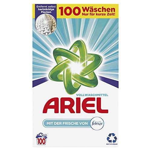 Ariel Waschmittel Pulver, Waschpulver, Vollwaschmittel, Febreze Frische, 100 Waschladungen (6.5 kg)