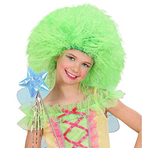 Amakando Perruque Enfant Elfe Contes de fées Cheveux frisés Vert Fluo Vert Fluo Papillon Anniversaire d'enfants fête Carnaval Accessoire déguisement