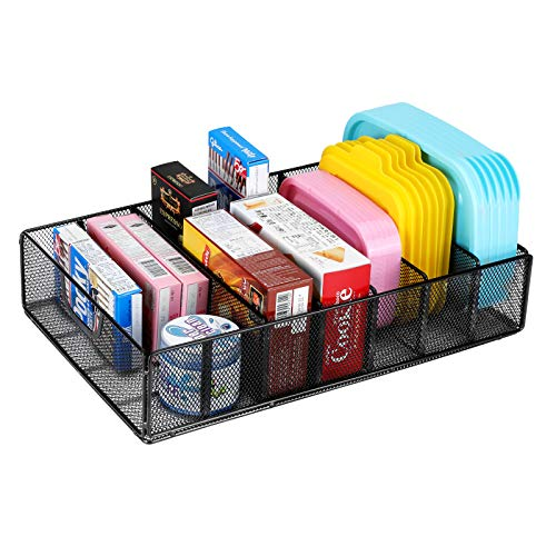 Mesh Food container Lid Organizer, 6 Dividers Adjustable Plastic Lids Holder Storage Rack,Tupperware Organizers for Kitchen Drawer Counter Cabinet