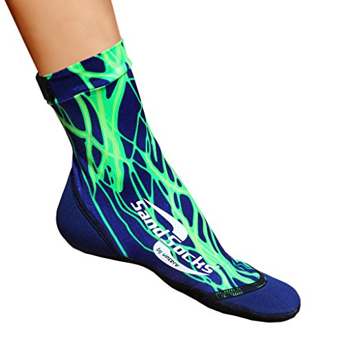 Sand Socks for Soccer, Volleyball, Snorkeling (Youth/Adult) X-Small Green Lightning