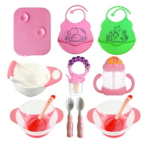 Baby Feeding Set, Complete & Best Value Gift, For Any Occasion, Loving Baby Includes: 2 Bibs| 2 Bowls w/Lid & Spoon| Placemat| Mash Bowl w/Tool| Sippy Cup| Fruit Pacifier w/Rattle| Spoon & Fork (Pink)