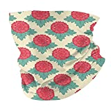 Photo de Q&SZ Sweatshirt Outdoor Headband Floral Lively Carnations Flourishing Summer Meadow Vivid Stylized Reseda Green Dark Coral Light Pink Scarf Neck Gaiter Face Bandana Scarf Head Scarf par