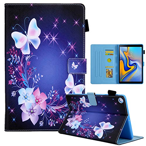 LMFULM Case for Samsung Galaxy Tab A7 SM-T500 / T505 (10.4 Inch) PU Leather Case Protective Shell Smart Wallet Case with Sleep/Wake Stand Cover Flip Holster Two Butterflies
